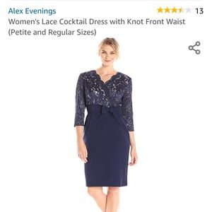 Alex Evenings Women's Lace Cocktail Dress with Kno